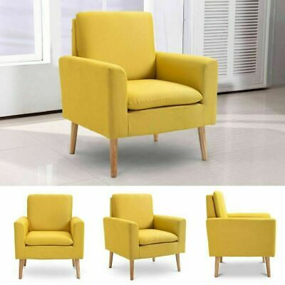 Set of 2 Arm Chair Accent Single Seat Upholstered Sofa Linen Fabric Living room