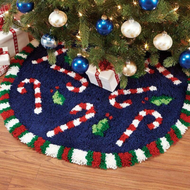 Herrschners® Candy Cane Tree Skirt Latch Hook Kit