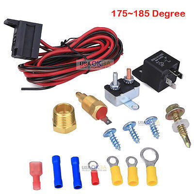 175~185 Electric Engine Fan Thermostat Temperature Relay Switch Sensor Kit 3/8""
