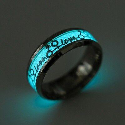 Love Glow in the Dark Comfort Fit Wedding Band Ring (Glow In The Dark Wedding Rings)