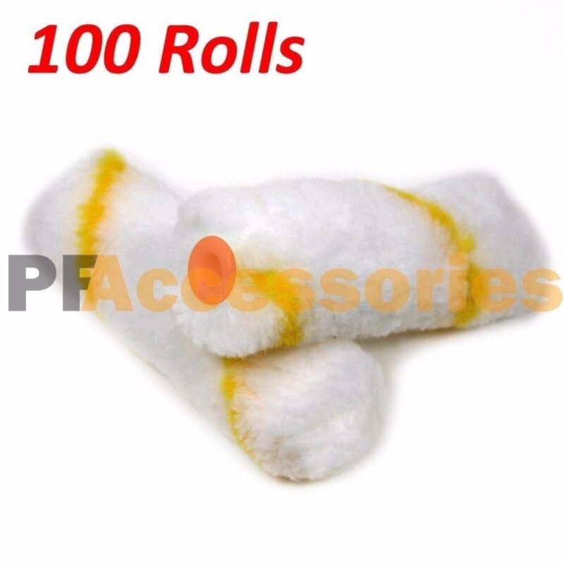 """100 Rolls 4"""" inch Mini Paint Roller Cover Refill Gold Stripe Soft Woven 1/2"""" Nap"""