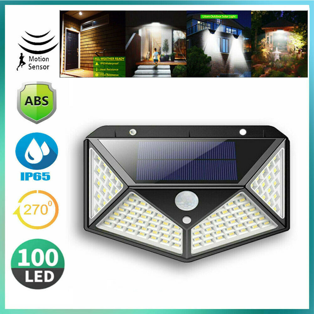 100 LED Solar Powered Light Outdoor Wireless Motion Sensor W