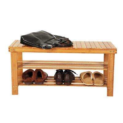 3 Tier Bamboo Shoe Storage Bench Seat Organizer Entryway Nature Wood Furniture