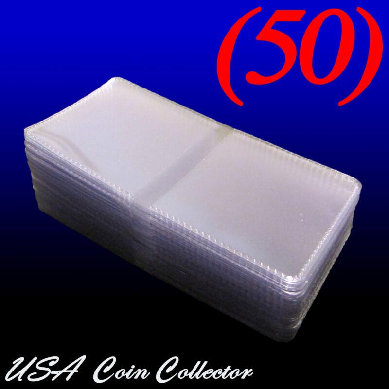 (50) 2x2 Double Pocket Vinyl Coin Flips for Storage - PVC Free Plastic Holders
