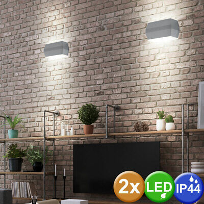 Set of 2 LED outdoor wall lamps terraces ALU spotlights glass spotlights