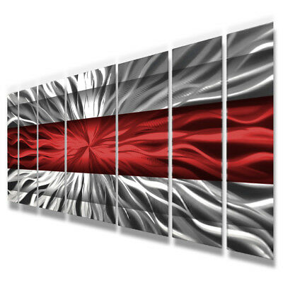 Metal Wall Art Modern Contemporary Abstract Sculpture Red Painting Home Decor Lg