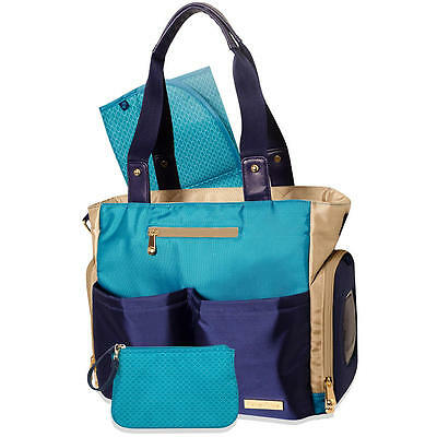 New Fisher Price Deluxe Color Block Tote Diaper Bag - Blue/Tan Model:22237545