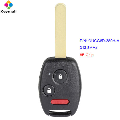 for Honda Fit Sport 2007 Remote Car Key Fob 313.8MHz 8E Chip P/N: OUCG8D-380H-A
