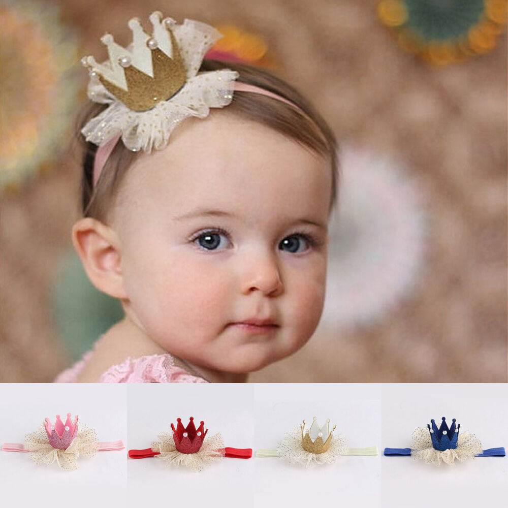 cute kids baby girl toddler lace crown hair band headwear headband