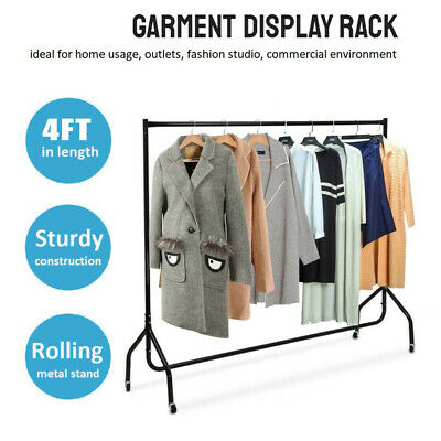 4ft Metal Clothes Rail Garment Hanging Rack Display Rolling Dryer Stand Wheel