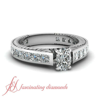 2.45 Ct Cushion & Princess Cut Diamond Channel Set Engagement Ring H-Color GIA