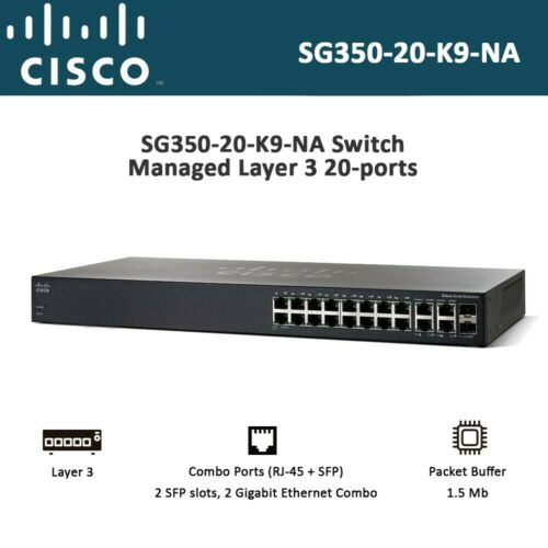 Cisco Small Business SG350-20-K9-NA Switch Managed Layer 3 20-ports Rack-mountab