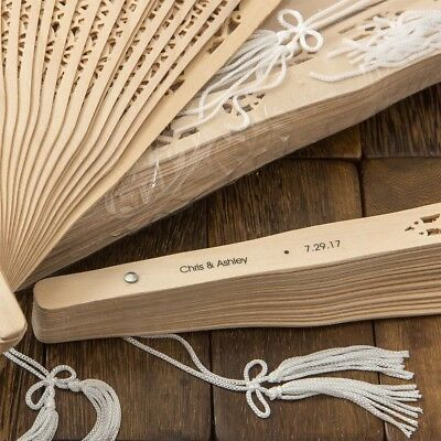 Personalized Wedding Favors (40 Personalized Carved Sandalwood Fan Wedding Bridal Shower Garden Party)