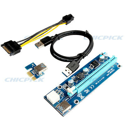 USB 3.0 PCI-E Express 1x To 16x GPU Extender Riser Card Adapter Power BTC Cable