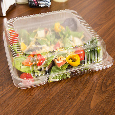 250-pack 8 X 8 X 3 Square Clear Hinged Lid Plastic Takeout To Go Container