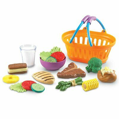 (Kids Deluxe 18 Pieces Highly Realistic Dinner Food Pretend Play Set in Basket)