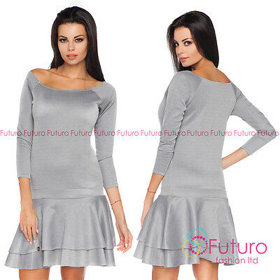 Tiered Fass (Womens Mini Tiered Grey Dress 3/4 Sleeve Clubwear Boat Neck Size 8 - 12 FA444)