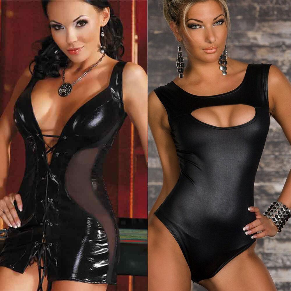 sexy da donna abito Lingerie Babydoll Tuta Vestito da Club spogliarellista pelle