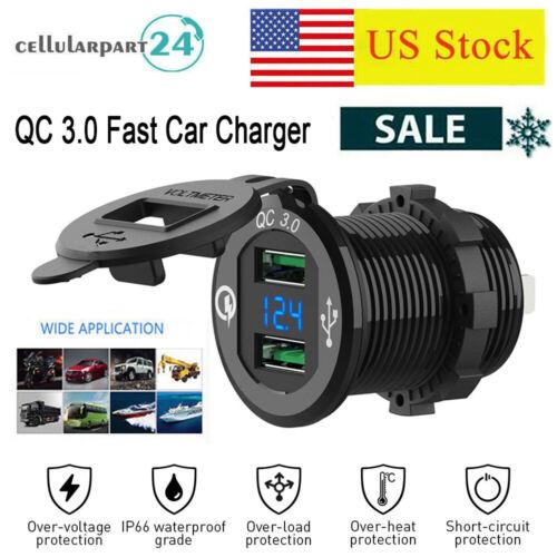 QC 3.0 Car Cigarette Lighter Socket Dual USB Ports Outlet Po