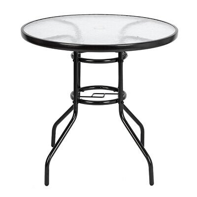 Outdoor Dining Table 32 Inch Round Patio Bistro Tempered Glass Top Garden Table Glass Top Patio Tables