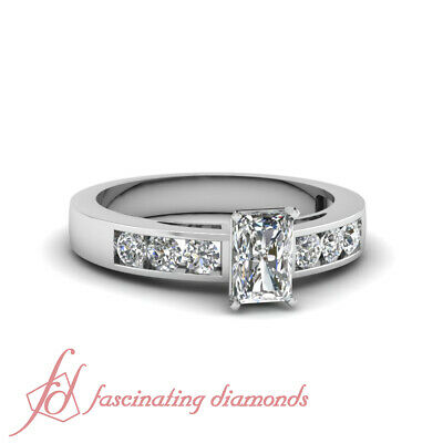 Engagement Channel Set Ring 0.70 Ct Radiant Cut VVS1 Diamond Rings Womens GIA