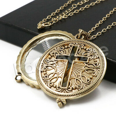 Antique Vintage Medallion Jesus Cross 5X Magnifying Glass Locket Pendant Necklac