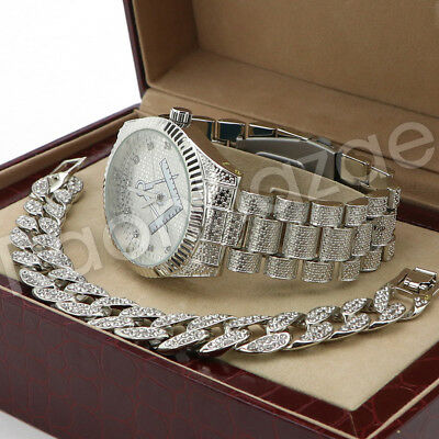 Hip Hop 14K White Gold PT Iced Freemason Watch Cuban Chain Bracelet Set F44S ()