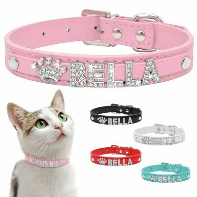Bling Letters (Bling Leather Personalized Rhinestone Letter Name Charm Pet Cat Dog Collar S M L )
