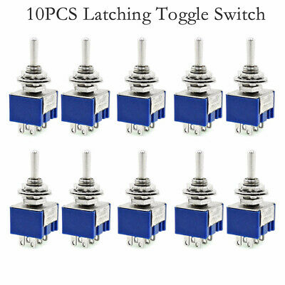10pc Dpdt Momentary Mini Toggle Switch On-off-on Solder Lug Blue 125vac New