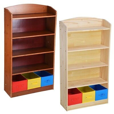 5 Shelf Wood Bookcase Book Bookshelf Unit With 3 Bins Organizer Toy Storage Box
