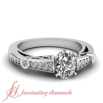 1.20 Ct Oval Shaped Diamond Pave Set Engagement Rings For Women SI1-E Color GIA