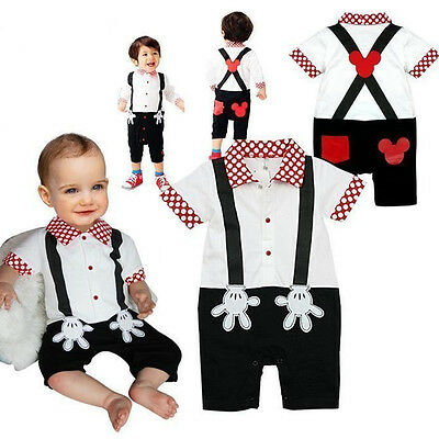 Mickey Mouse Baby Boy 1st Birthday Romper Jumpsuit Cake Smash Outfit Clothes  . - Baby Mickey Mouse First Birthday