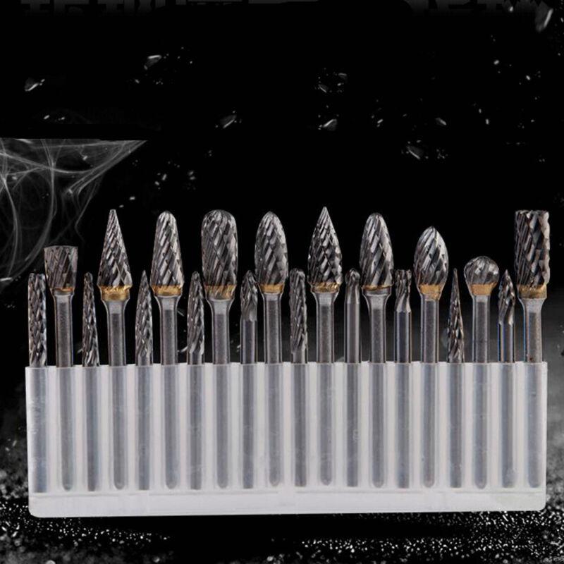 Head Tungsten Carbide Steel Rotary Burr Die Grinder Bit Shank Carving 20Pcs Set