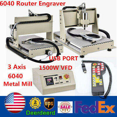 Usb 3 Axis 1500w Cnc 6040 Router Metal Wood Engraver Machine Cuttercontroller
