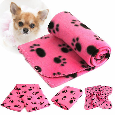 Small Soft Warm Paw Print Fleece Pet Blanket Dog Cat Puppy Bed Mat Cover Pink