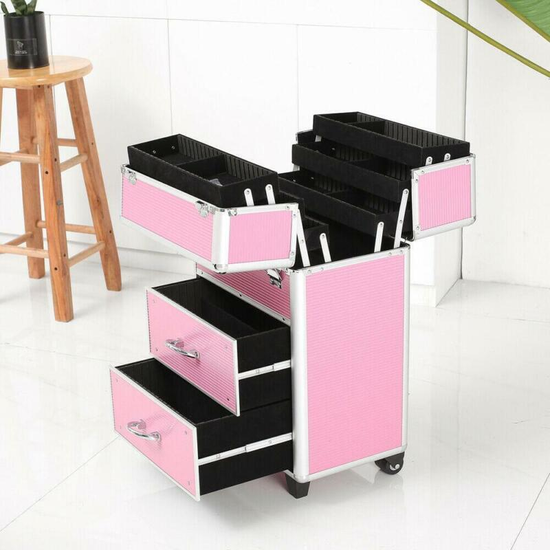 New Rolling Makeup Case Cosmetic Train Box Trolley Storage Lockable Space-saving