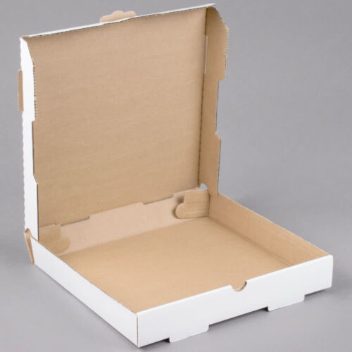 "(50-Pack) 12"" x 12"" x 1 3/4"" White Corrugated Plain Pizza / Bakery Box"