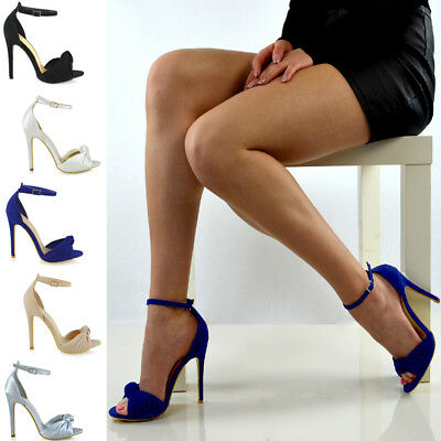 Womes High Heel Ankle Strap Ladies Party Satin Bridal Sandals Peep toe Shoes 3-8 ()