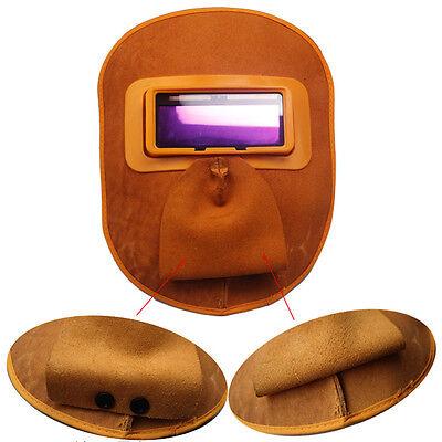 Yellow Pro Leather Welding Solar Auto Darkening Filter Lens Hood Helmet Mask