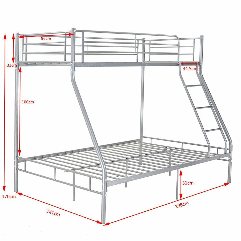 Triple Sleeper Bunk Bed Metal Single Double 3 Person Bed With Steps