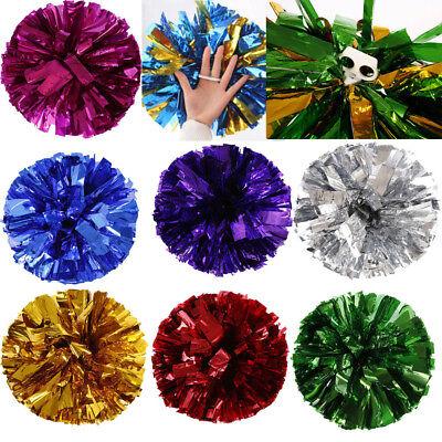 US Metallic Foil And Plastic Ring Handheld Pom Poms Cheerleading Party Decor - Pom Poms Cheerleading