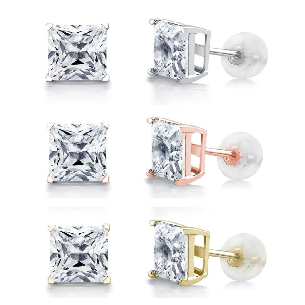 2.00 CT Princess Square Diamond Studs 14K Solid Gold Womens Earrings In Gift Box