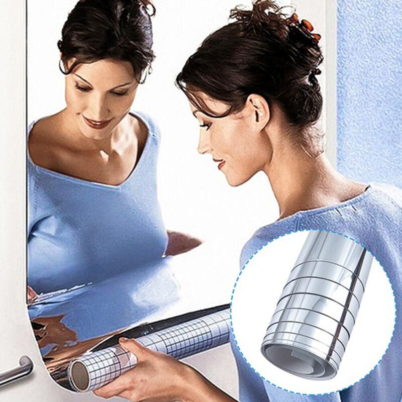 Home Decoration - Mirror Tile Wall Sticker Square Self-Adhesive Home Bathroom Decor Stick On Art