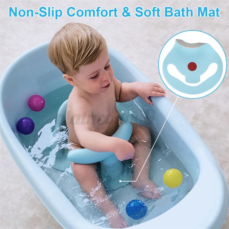 Portable Infant Baby Kid Bath Seat Ring Bathtub Chair w/Backrest & Suction Cups