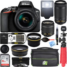Nikon D3500 DSLR Camera w/ AF-P DX 18-55mm & 70-300mm Lens REFURB 32GB Bundle
