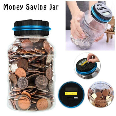 Coin Counting MONEY JAR Cup Dollar Digital LCD Automatic Counter Piggy Bank -