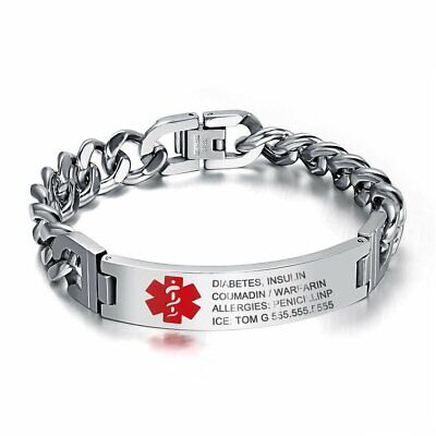 Personalized Medical Bracelet Emergency Free Engraving Men Women Alert ID (Engraving For Men)