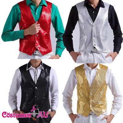 Mens Sequin Waistcoat 20s Disco Dance Magician Gangster Costume Womens Jazz Vest - Gangster Vest