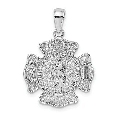 14k 14kt White Gold  F.D. SAINT FLORIAN MEDAL / MALTESE CROSS FIRE DEPT. PENDANT