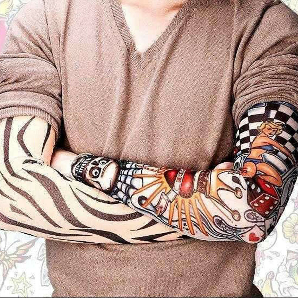 12Pcs Unisex Temporary Fake Slip On Tattoo Arm Sleeves Kit Fashion Sunscreen tss